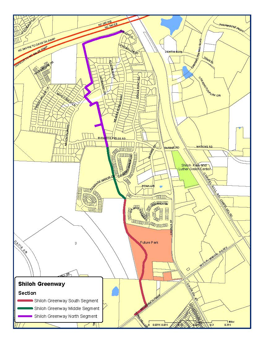 Map Shiloh Greenway Sections